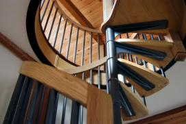 Spiral staircase in ash and cast aluminium.