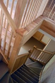 Ash staircase with two sets of winders